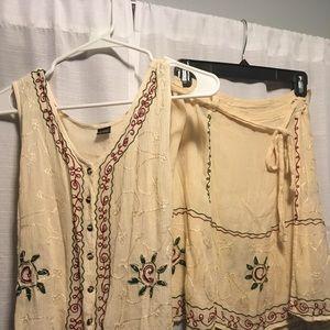 Vintage La-Vina Indian Vest & Skirt 2-Piece Set M